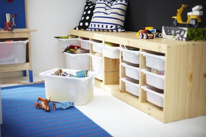 Kids Storage Bench Furniture Toy Box Bedroom Playroom: TROFAST Toy Storage In The Living Room; Turn This Into A