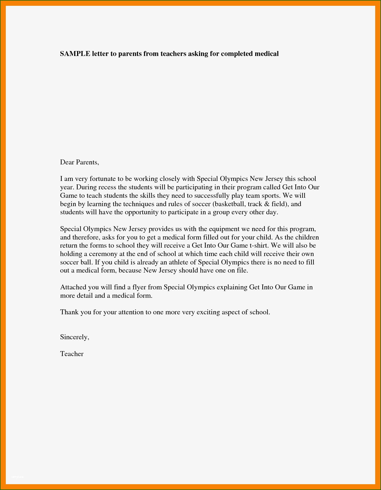 Letter to Parents Template 11 Approach to Try Out in 2020