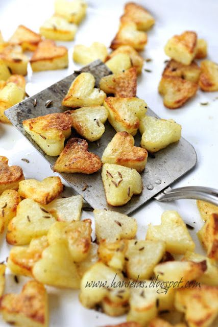 Heart-shaped roasted potatoes for Valentine's Day.