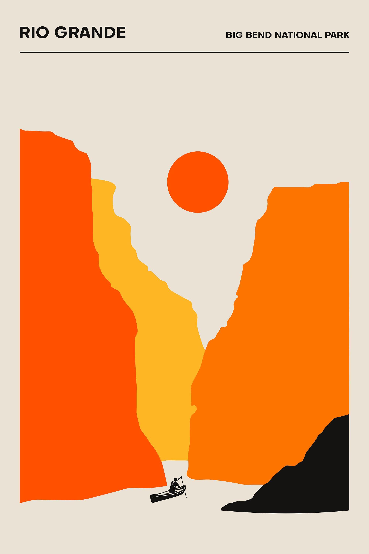 The Rio Grande, Big Bend National Park - Poster - Minimalist Print | Printed Poster | Geometric | 24x36, 18x24 print, 16x20, 12x18 print