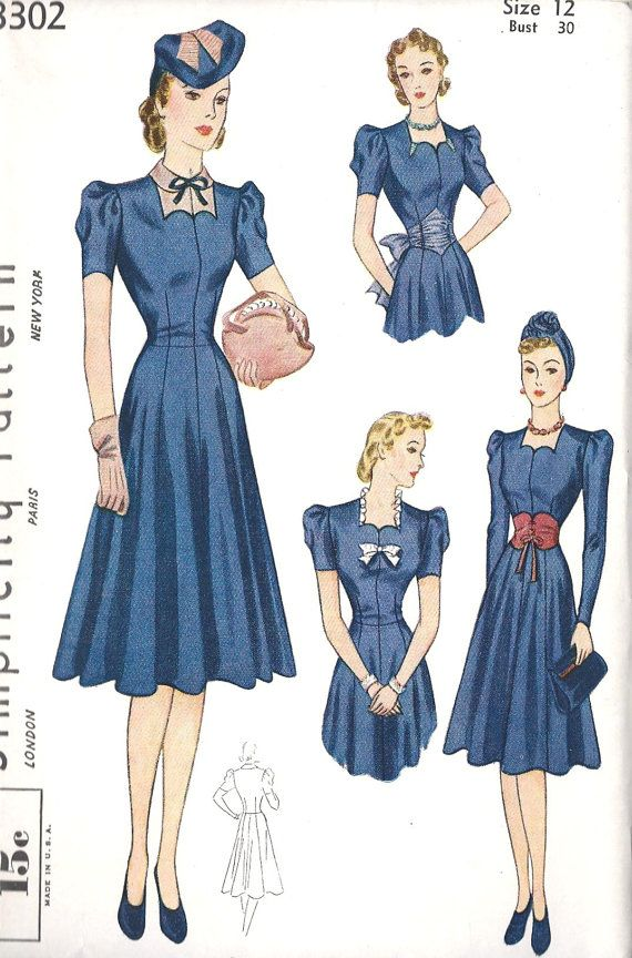 1930s Misses Dress Vintage Sewing Pattern | Ropa para confeccionar ...