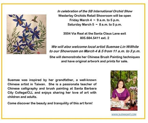 Head to the Westerlay Orchids Retail Showroom on March 4th and 5th for a special Chinese Brush Painting demonstration from CLL instructor Suemae ART Studio. For more from Suemae, register for her Spring 2016 Asian Art: Chinese Brush Painting class beginning April 5th: http://bit.ly/1Qly9Eo