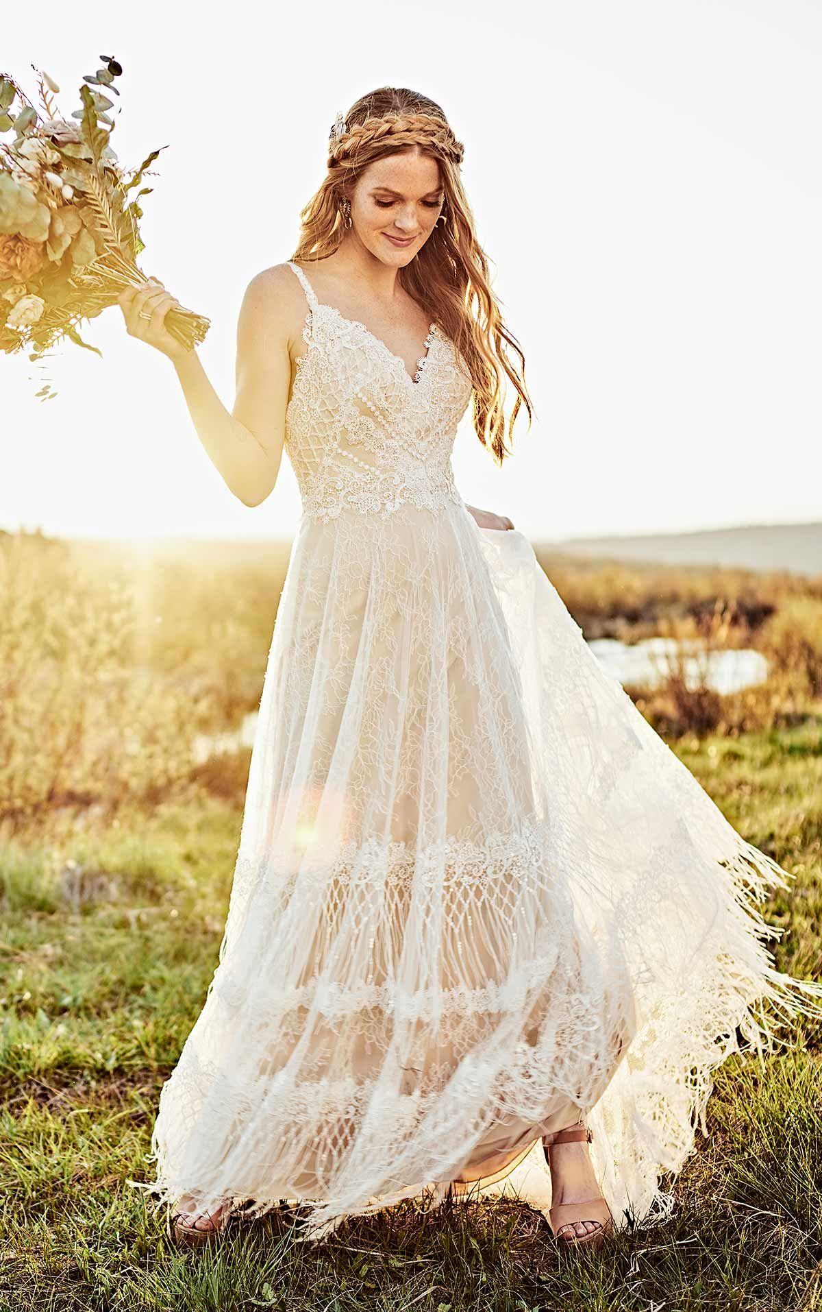 Rustic Boho Wedding Dress with Fringe Details in 2020