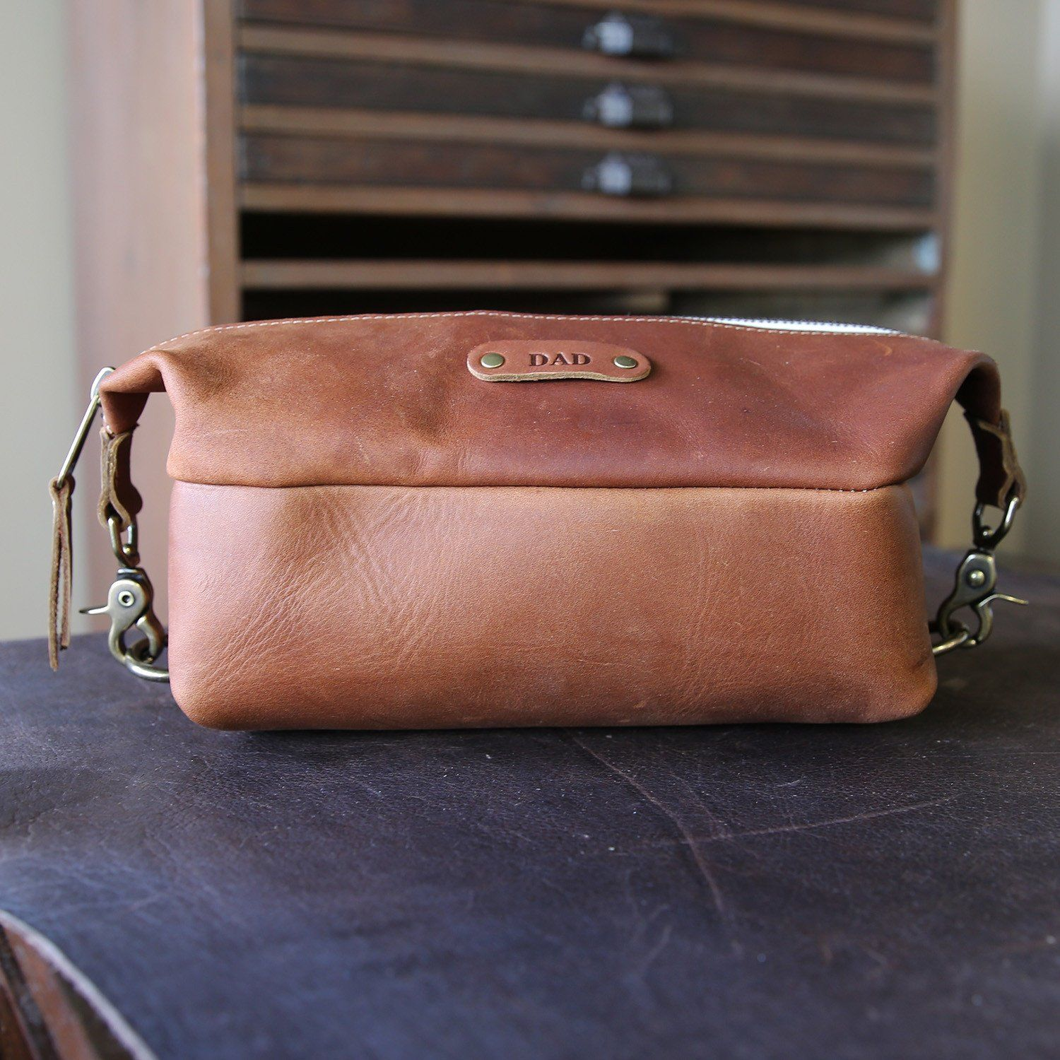 0e06b3750a The Dopp Bag - Personalized Brown Fine Leather Shave Toiletry Bag Travel Bag  With Zipper