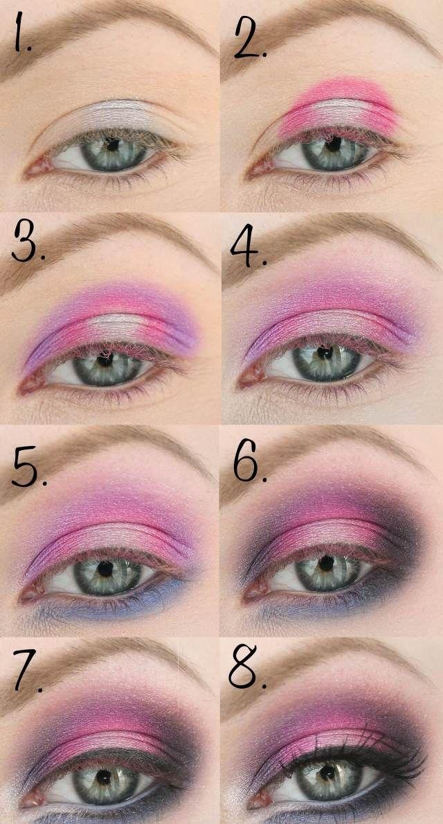 tuto maquillage yeux en rose, lilas et bleu foncé