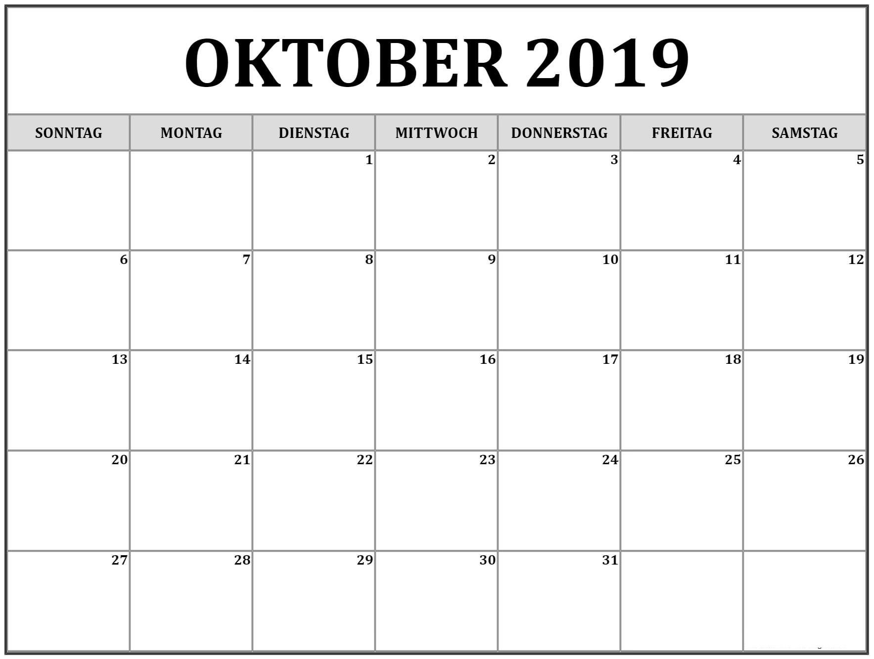 Kalender Oktober 2019 Drucken | Calendar printables ...