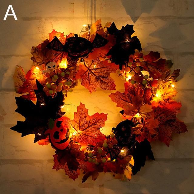 LED Halloween Autumn Wreath Products Pinterest Products