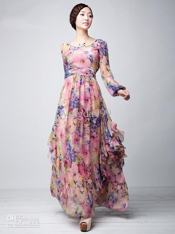 706bd3df84 Pink Floral Printed Long Sleeves Chiffon Jewel Neck Maxi Dress party dresses  for women