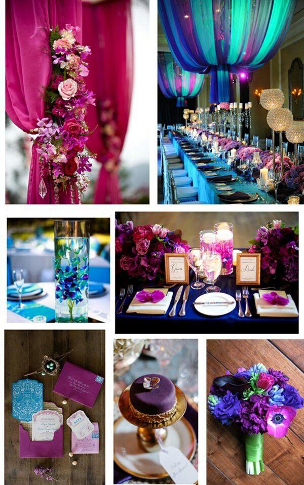 Jewel tone wedding colors  teal aqua royal blue