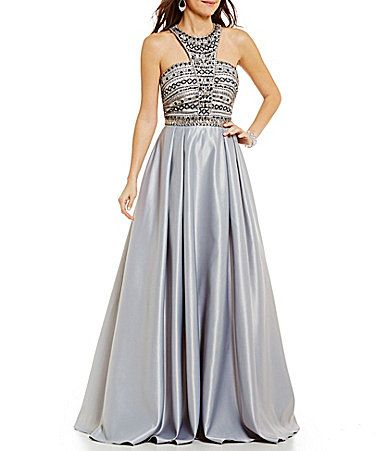 5da2d4c1389 Coya Collection Halter Neck Beaded Bodice CutOut Back Satin Ball Gown   Dillards