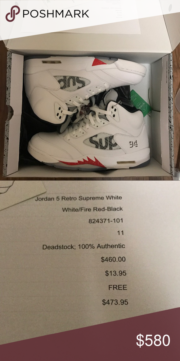 the latest 2f180 509c8 Jordan 5 Retro Supreme White Size 11 Ds Deadstock size 11 Jordan 5 Retro  Supreme. Got receipt from stockx. Jordan Shoes Sneakers
