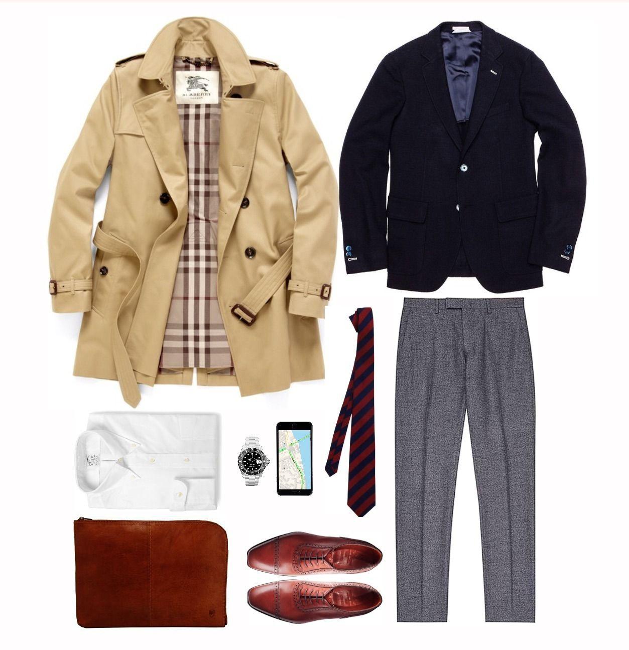 Raincoat: Burberry. Blazer: Hackett. Trousers: Reiss. Shoes: John Lobb