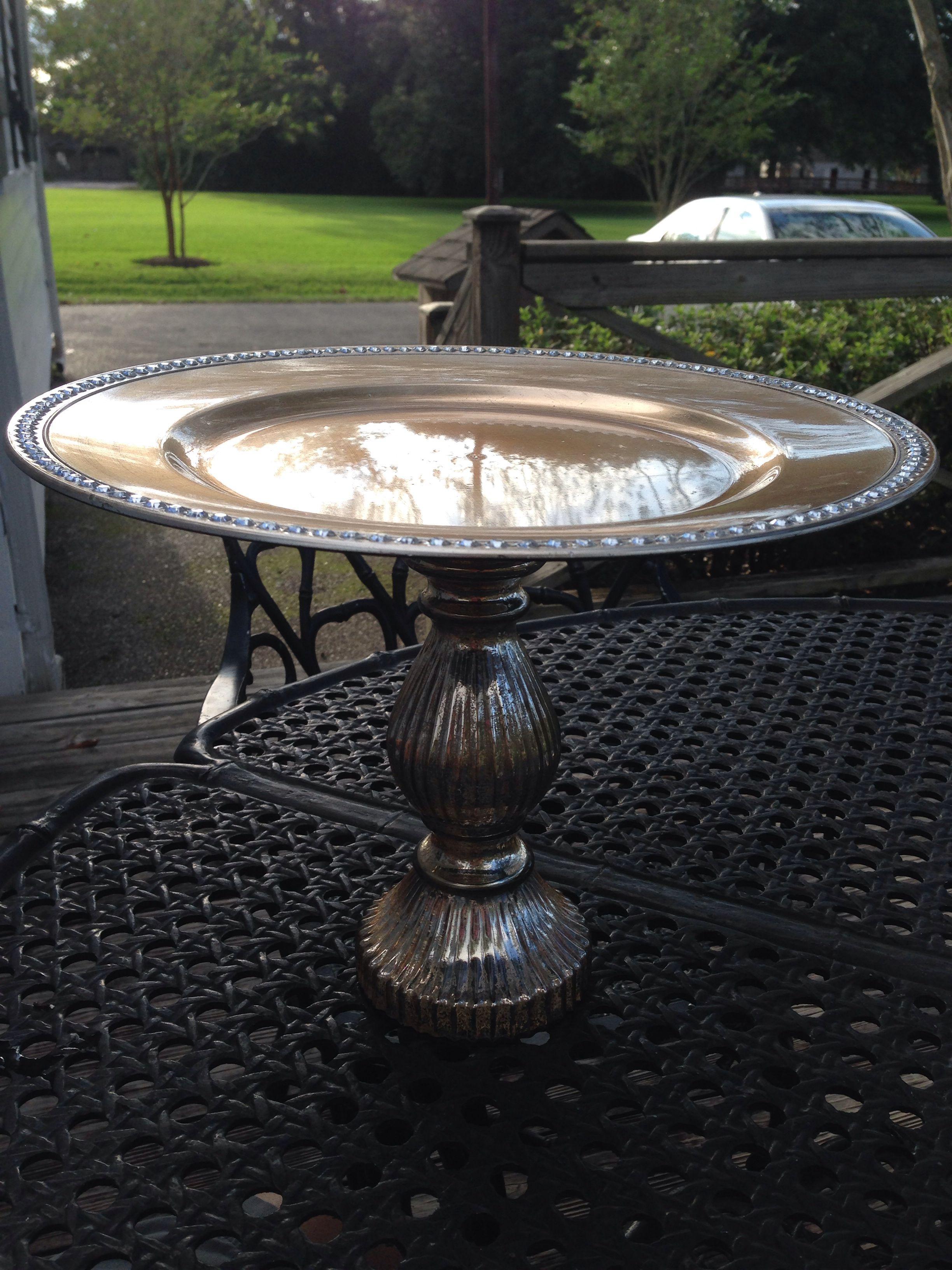 Diy cake stand candle holder platter michaels diy