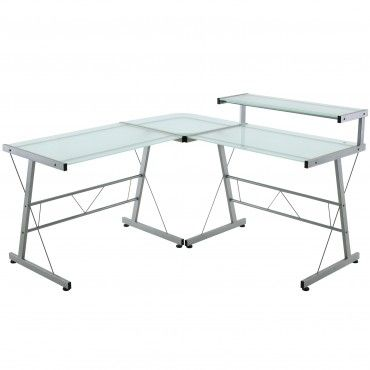 Silver Modern L Shaped Computer Desk Frosted Gl Top Desks Office Patio