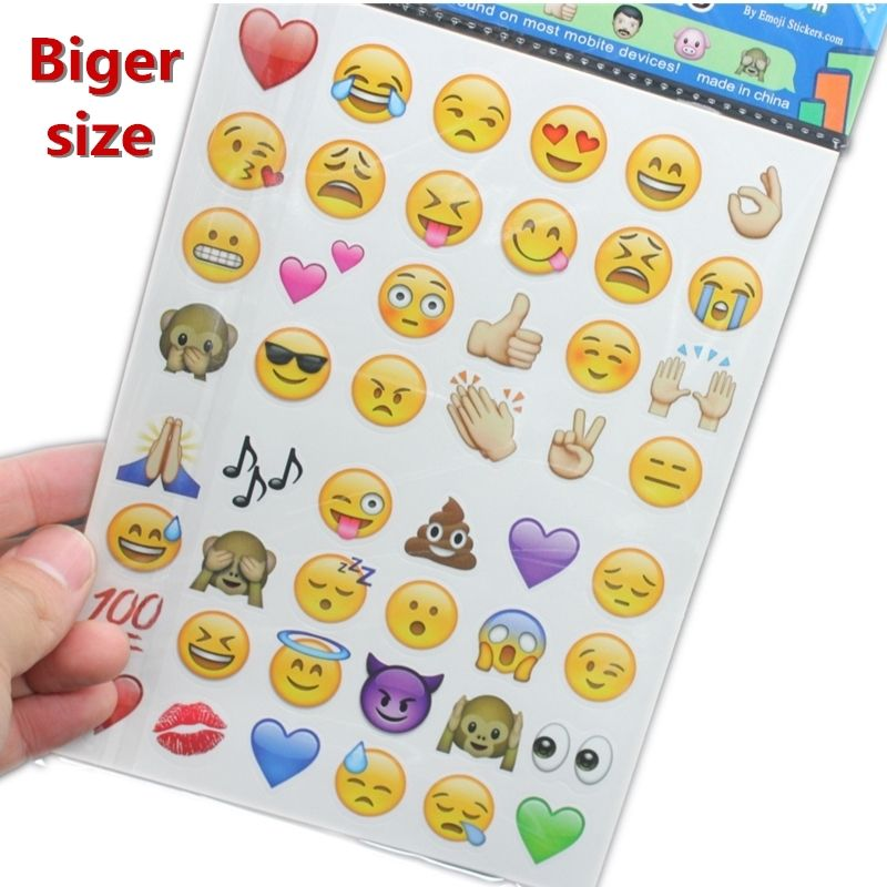 13 18cm Biger Size Plus 4sheets Lot Cute Lovely Emoji Smile Stickers For Notebook Message High Vinyl Funny Creative Emoji Stickers Classic Toys Messages