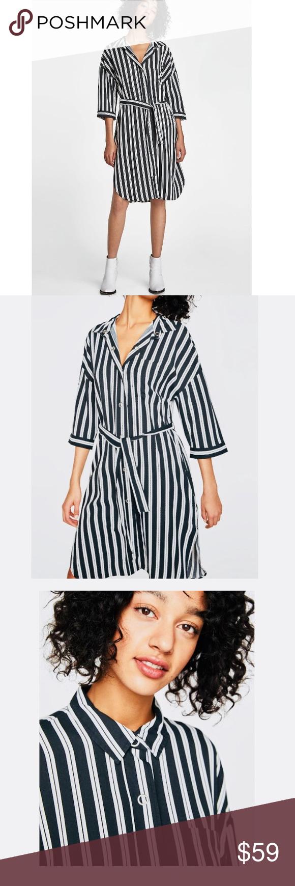 a45dda44d4 ZARA] Striped Shirt Dress New w/tags 3/4 Sleeves.. Striped dress ...