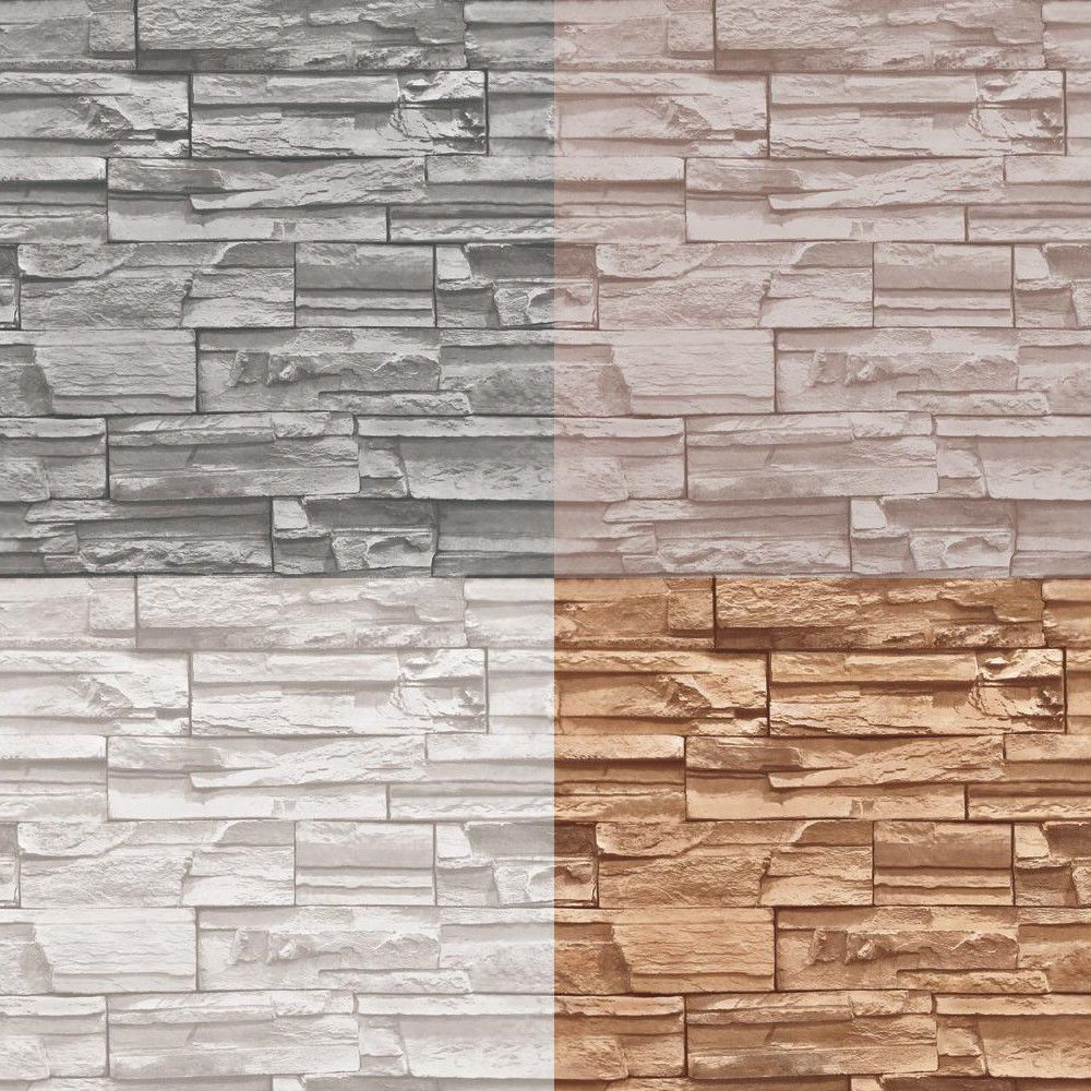 56 SF 10M Roll Stacked Brick/Stone Wallpaper Brown/Grey
