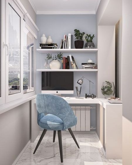 An Enclosed Balcony Can Provide The Perfect Office Space When There Is No Other Room To Set One Up Order Home Room Design Home Office Decor Home Office Design
