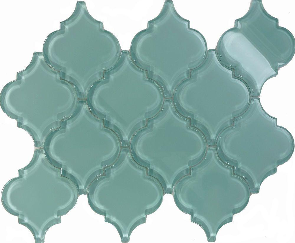 sample blue arabesque moroccan pattern glass mosaic tile kitchen