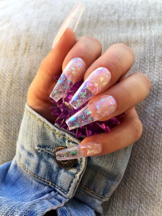 Vinyl Butterflies Funky Press On Nails May Be Filed Down Made Of Hard Gel You Will Receive A Set Of 10 Hand Pai Clear Acrylic Nails Jelly Nails Glue On Nails