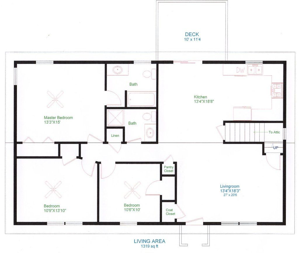 Simple one floor house plans ranch home plans house for Create floor plans online for free