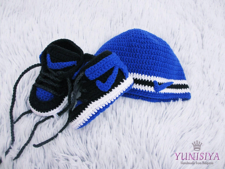 15ce95f4595 Crochet Baby Set Blue Baby Set Nike Baby Shoes Blue Baby Hat Black Baby  Booties Baby Nike Shoes Baby Gift Idea by Yunisiya on Etsy