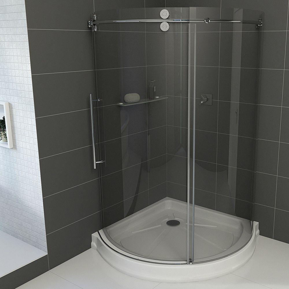 Vigo 36 X 36 Frameless Round 516 Clear Shower Enclosure Left Sided