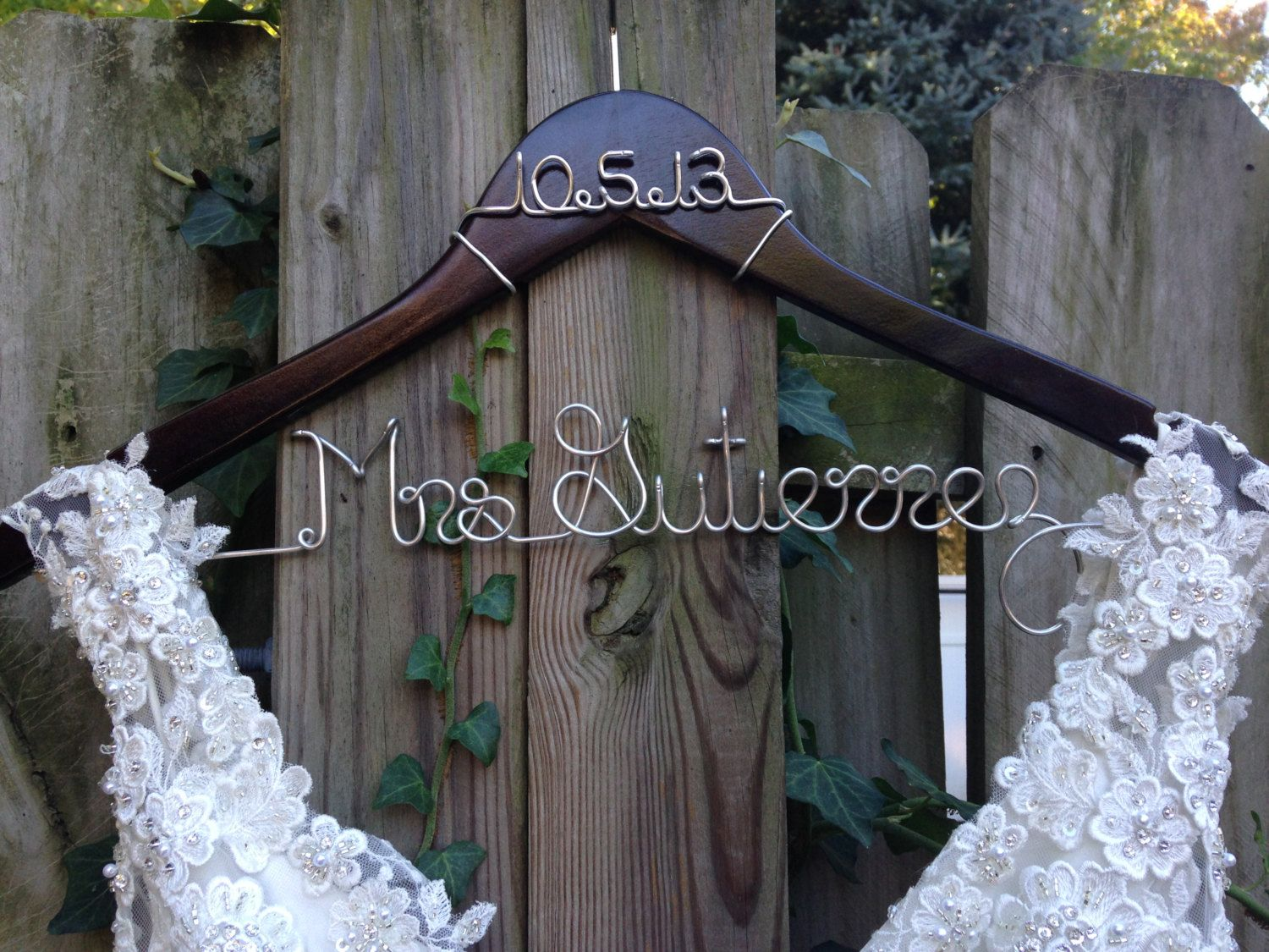 Wedding dress hanger with date bride hanger name hanger bridal