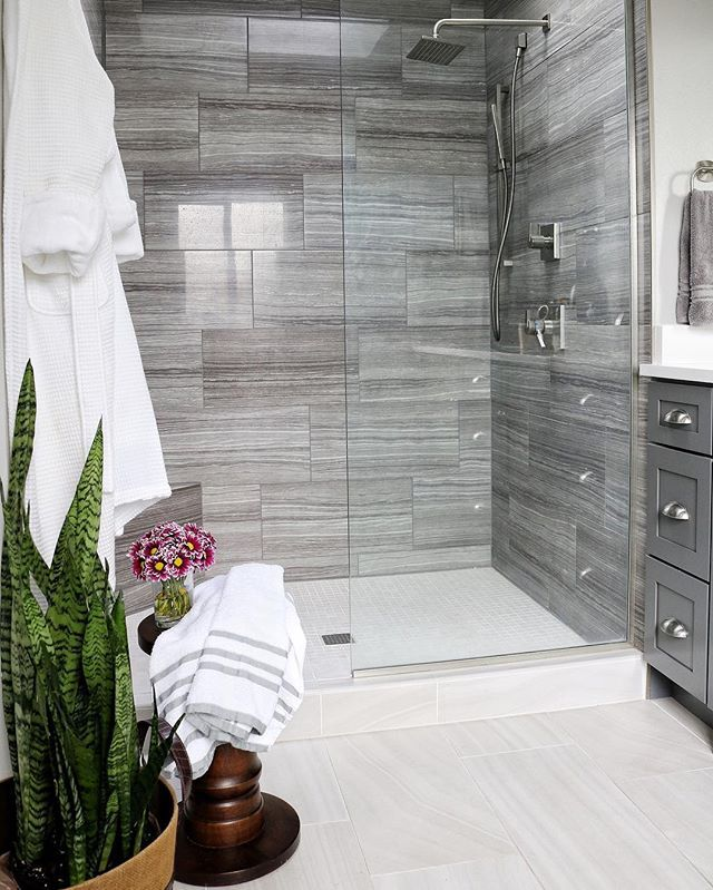 Master Bathroom Large Walk In Shower Masterbathroom Graytile Bathroom Shower Tile Bathroom Remodel Shower Bathroom Remodel Master