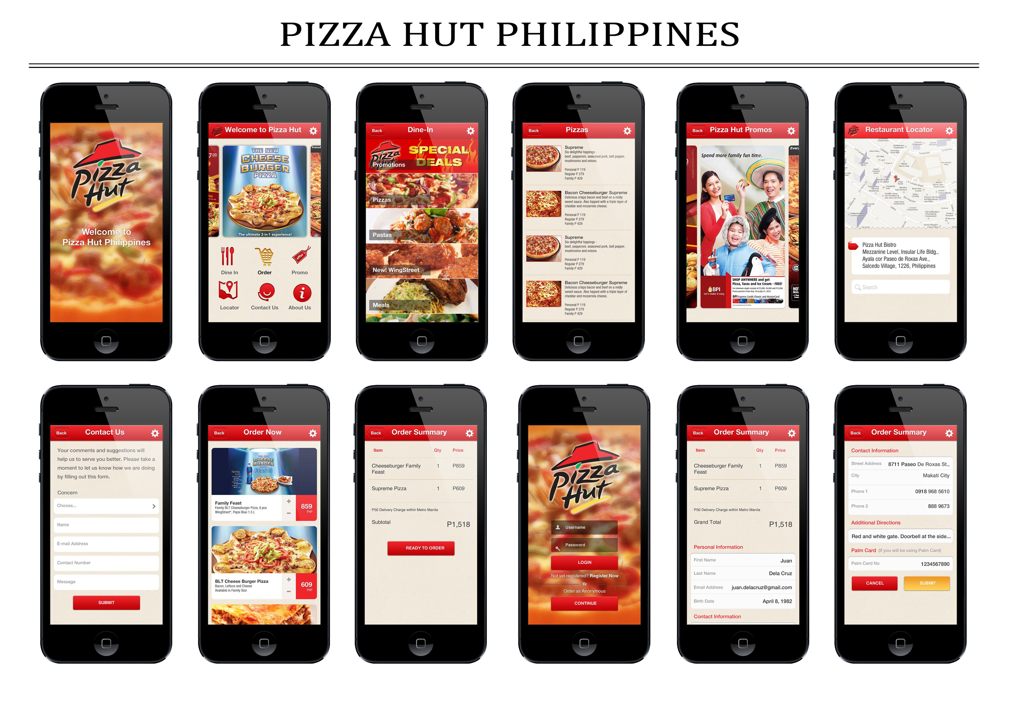 Pizza Hut proof of concept in iOS6 App design, Pizza hut