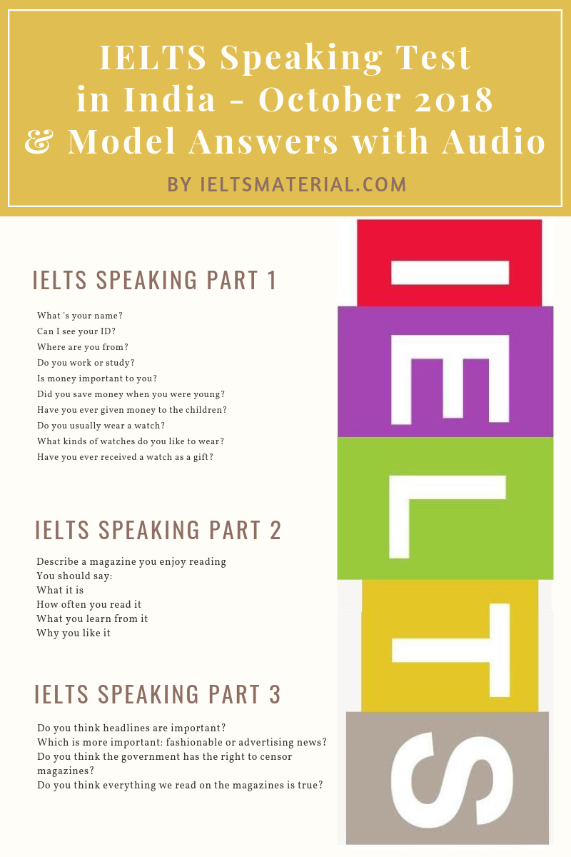 IELTS Speaking Test in October 2018 in India & Band 9 Sample with