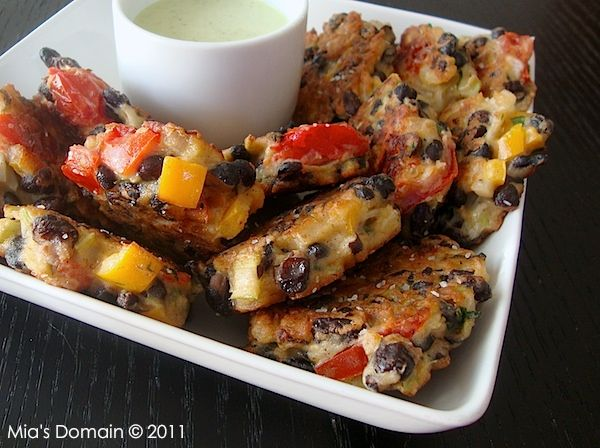 Mia's Domain | Real Food: Crispy Black Bean Fritters with Creamy Cilantro Dipping Sauce