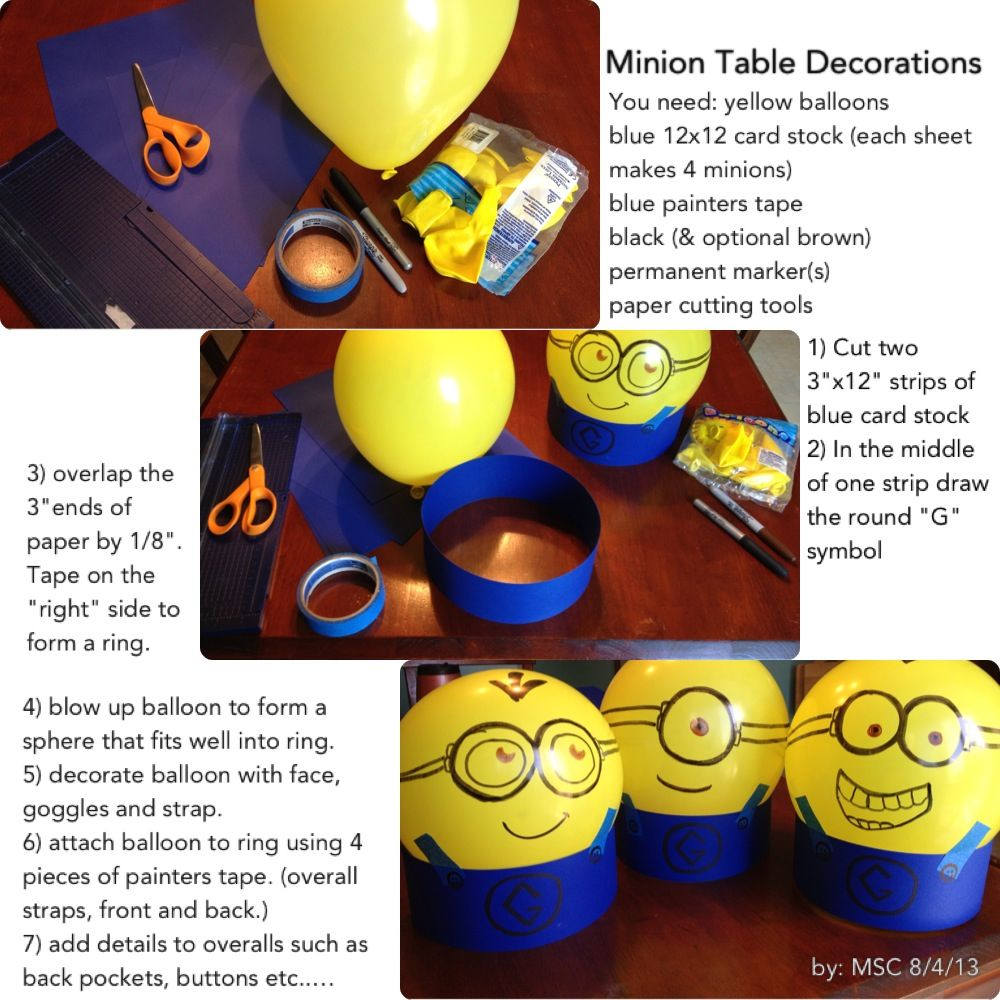 Minion Table Decorations Please Note Correction One Piece Of Card