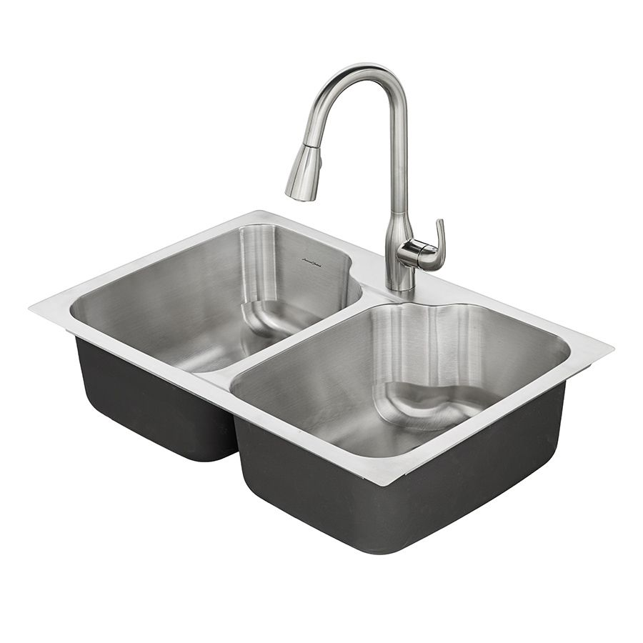 American Standard Tulsa 33-in x 22-in Double-Basin Stainless Steel ...