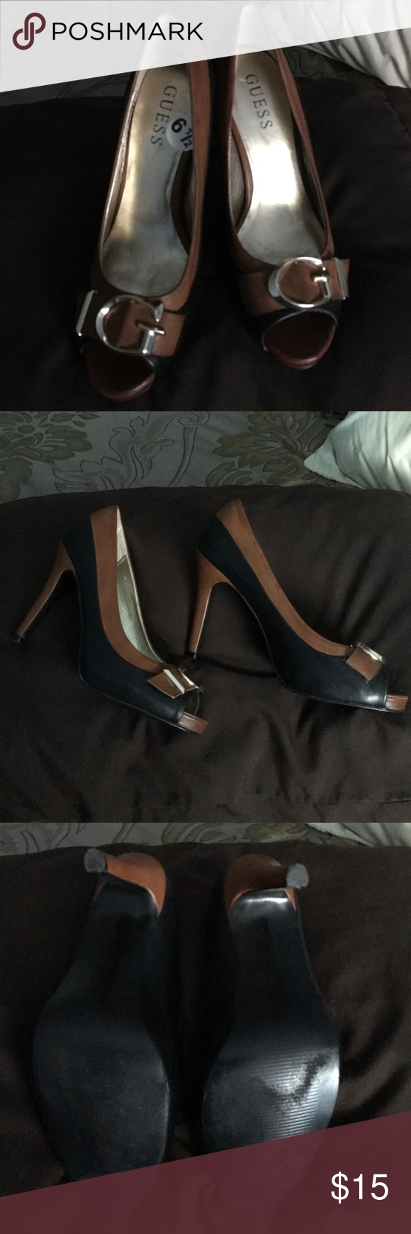 💥WEEKEND SALE💥Guess Heels Guess 2 tone black and brown peep toe heels size 6.5.They are in good condition💥PRICE IS FIRM💥 GUESS Shoes Heels