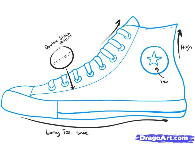 how to draw converse, how to draw chuck taylors step 1 | art ...