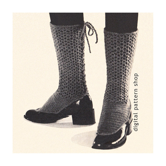 Lacy Spats Crochet Pattern Back Laced Adjustable Spats Vintage ...