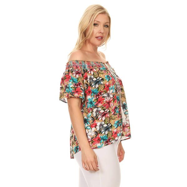460bac00a1bb0 Xehar Women's Plus Size Off Shoulder Floral Print Tassel Blouse Top ...