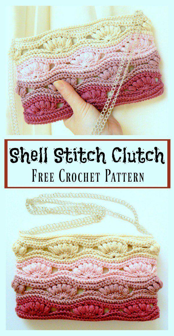 Shell Stitch Clutch Free Crochet Pattern   Tejido, Ganchillo y Bolsos