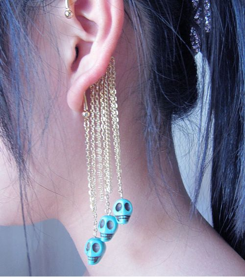 No ear hole Skull Single long earring | Jewelry | Earrings ...