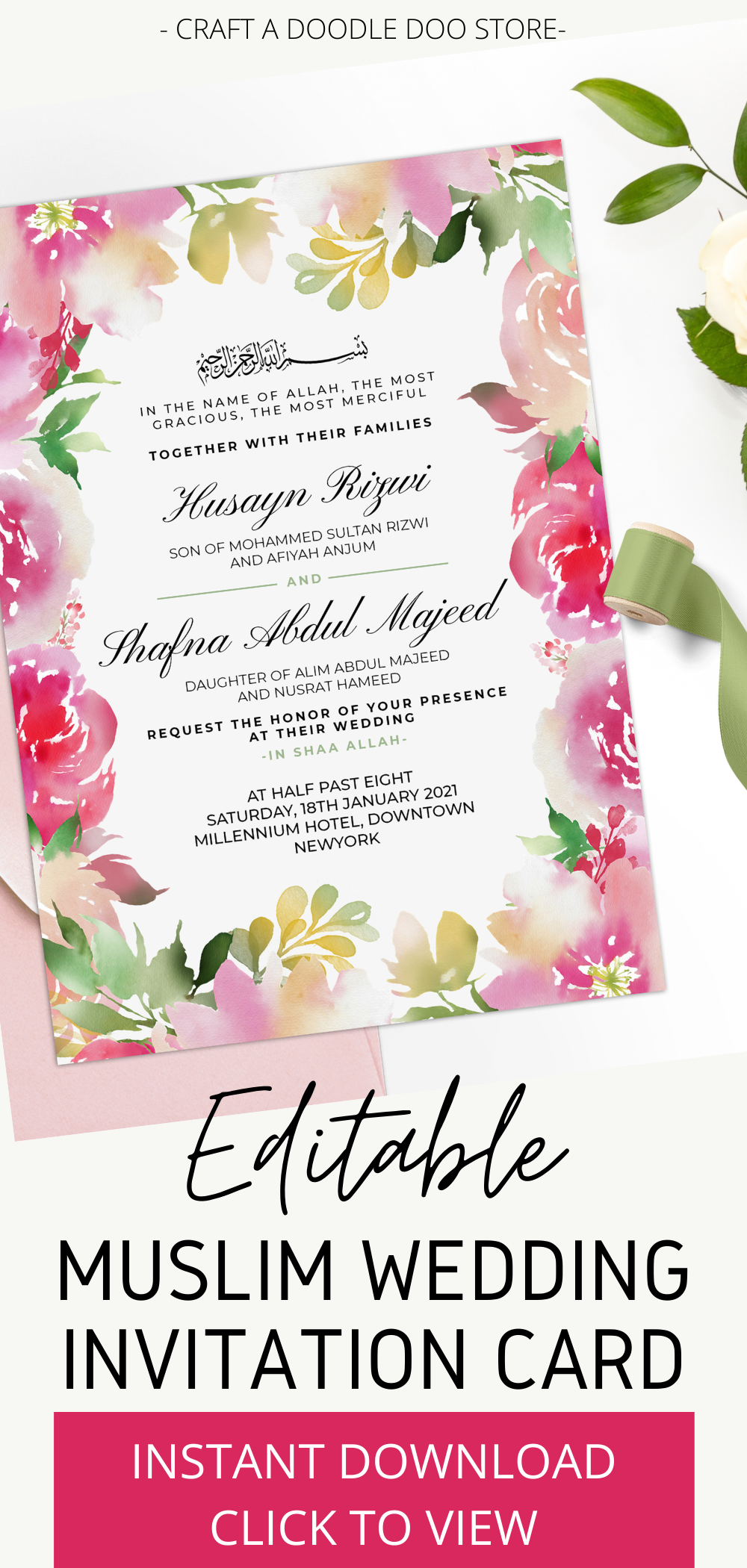 Wedding Invite Pink Editable Template Wedding Printable Engagement Announcement Cream and White 5x7 Card PDF Digital Download