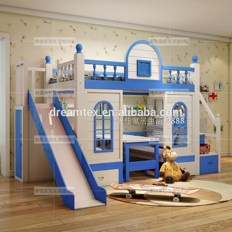 Kids Double Deck Bed Wood Kids Bunk Bed Solid Wood Bed With Stairs