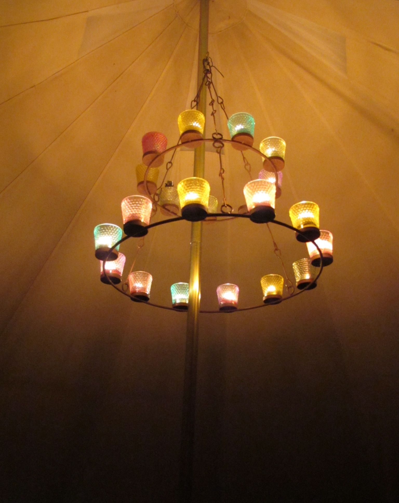 Electric tea lights and baby food jars instead? & The same tea light chandelier I have in my bell tent :) | Camping ...