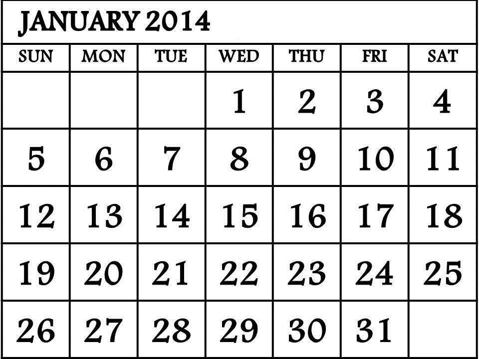 Free Printable January 2014 Calendar Calendar Template Pinterest