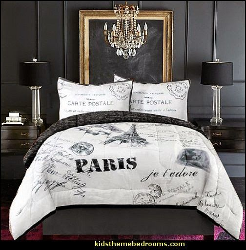 french inspired girls bedroom in gray and red decorating theme bedrooms maries manor - Eiffel Tower Decor For Bedroom