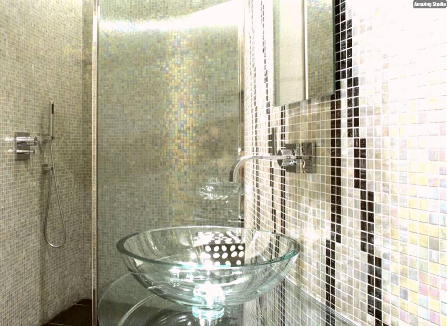 Mosaik Fliesen Badezimmer Perlmutt Glas Waschbecken Modern