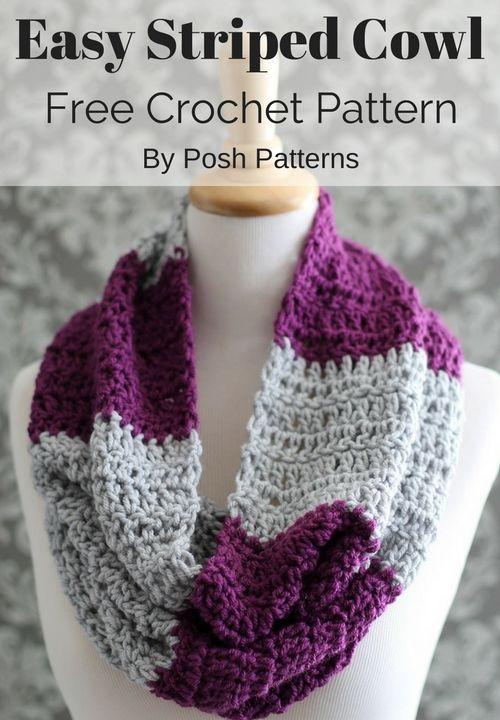 Striped Crochet Cowl Pattern Crochet Pinterest Easy Crochet