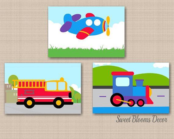 Transportation Nursery Wall Art Transportation Boy Bedroom Etsy Art Wall Kids Transportation Nursery Nursery Wall Art