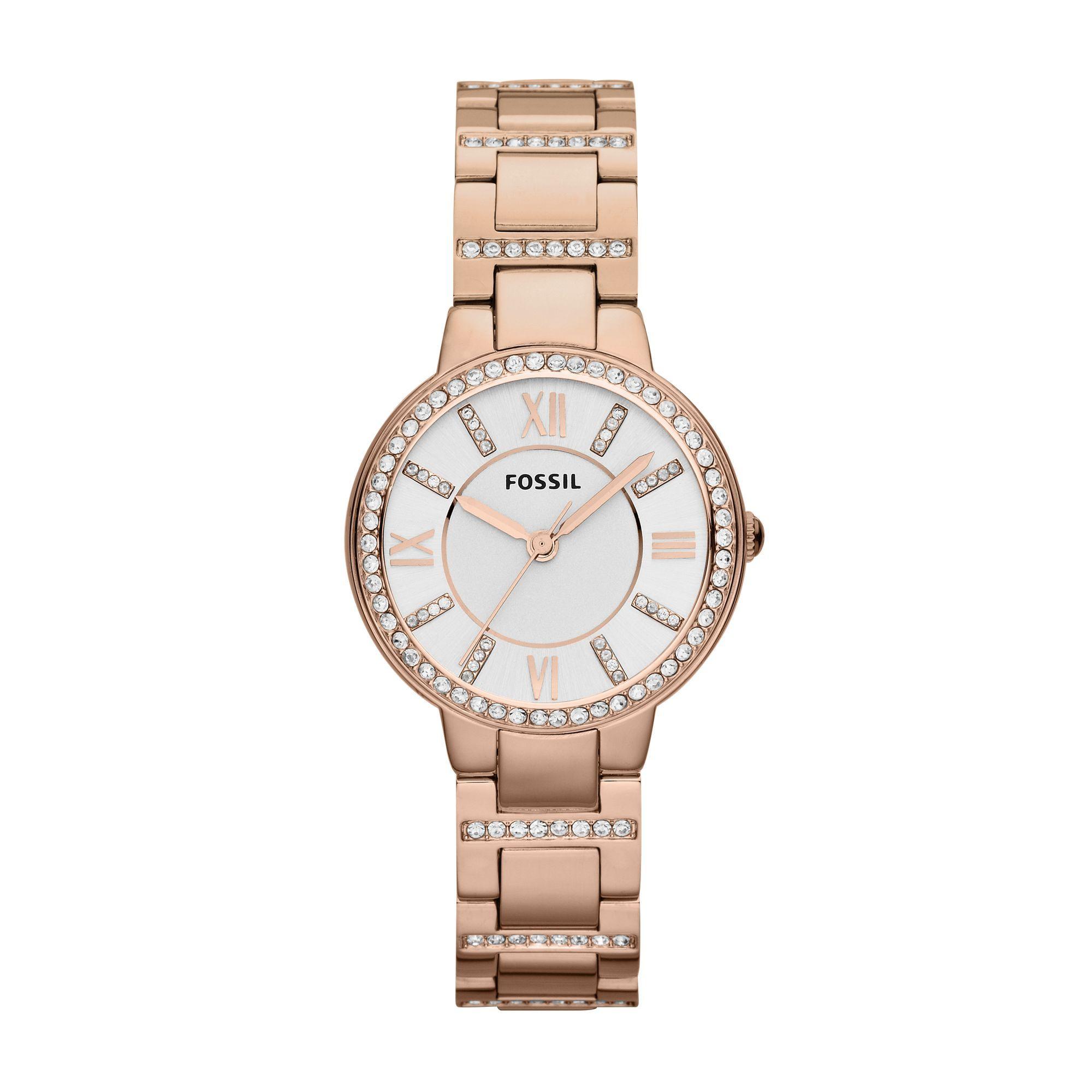 Grazile Damen Schmuckband-Uhr mit Glamour Glitzer. Funkelnde Zirkonia-Steine auf dem Zifferblatt, rund um das Uhrglas und auf dem Armband. So lassen Sie Ihre Fossil-Uhr ES3284 gravieren. mehrzeilig mit Logo im Bogen seitlich Bestellen Sie jetzt die Fossil ES3284 mit persönlicher Gravur.