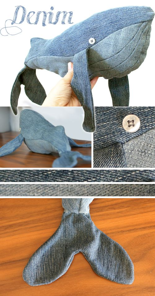 Whale softie made from old jeans